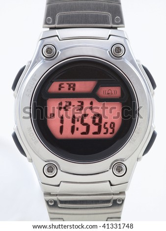 Digital Watch close up with red face on white - stock photo