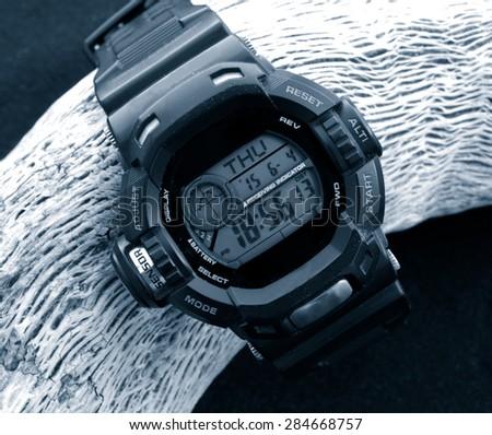 digital watch cronograph monochrome image - stock photo