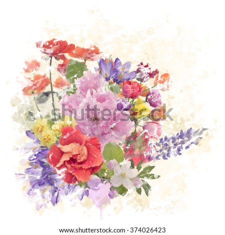 Digital Watercolor Painting of Flowers - stock photo