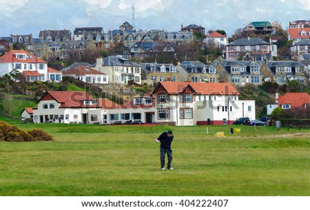 Digital watercolour from a photograph of golfer playing in front of the Clubhouse of West Kilbride Golf Club, an 18 hole links course located on the North Ayrshire Coast of Scotland - stock photo