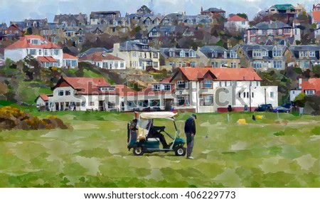 Digital watercolour from a photograph of golfers playing in front of the Clubhouse of West Kilbride Golf Club, an 18 hole links course located on the North Ayrshire Coast of Scotland - stock photo
