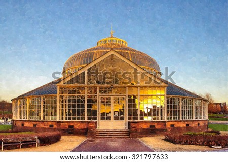 Digital watercolour from a photograph of the rear elevation of the Winter Gardens of the People's Palace, Glasgow Green,Glasgow, Scotland with a reflection in the glass of the city skyline at sunset - stock photo