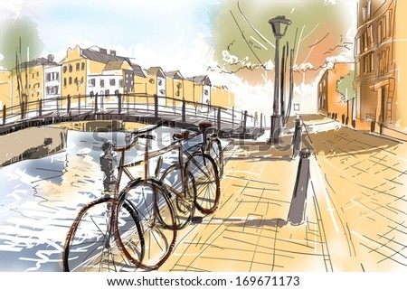 Digital watercolour landscape painting of the streets of Amsterdam with old iconic Netherlands bicycles lined up next to a canal and bridge. Travel fine art - stock photo