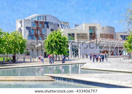 Digital watercolour painting from a photograph of the exterior of the Scottish Parliament Building, Holyrood, Edinburgh, Scotland - stock photo