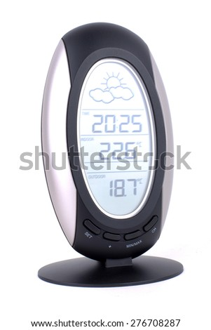 Digital weather station isolated on white - stock photo