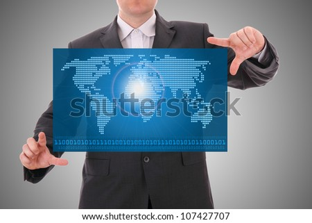 Digital world concept graphic, presentation made by businessman on futuristic user interface - stock photo