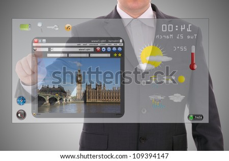 Digital world concept graphic, presentation made by businessman on touch user interface - stock photo