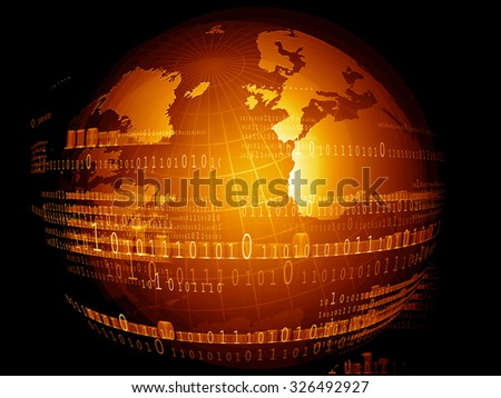 Digital world, Hi-tech technological background - stock photo