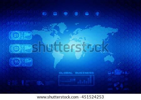 Digital world map , Globalization, Hi tech and synchronization,2d illustration - stock photo