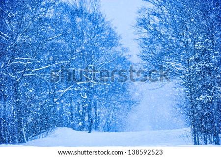 Digitally enhanced image of snow falling on trees, Stowe, Vermont, USA - stock photo
