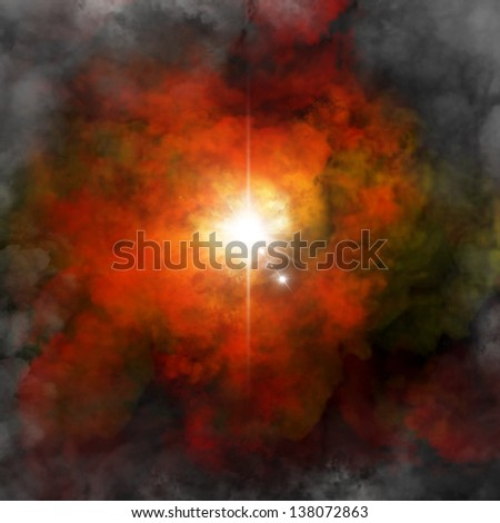 Digitally genareted image of a explosion - stock photo