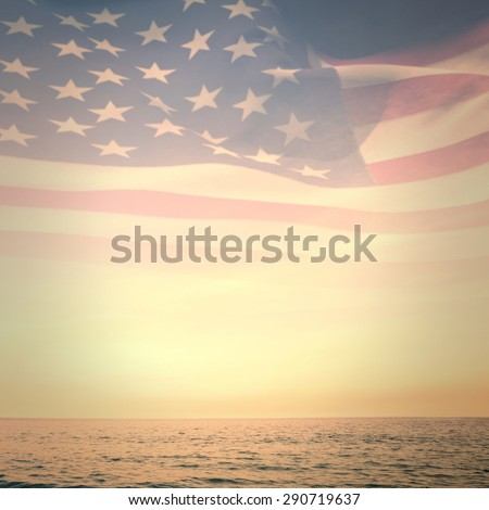 Digitally generated american flag rippling against beautiful sunset on a sunny day - stock photo