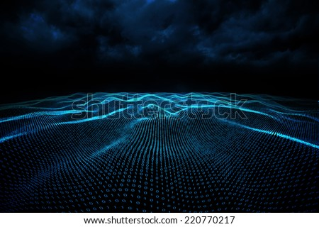 Digitally generated binary code landscape on black background - stock photo