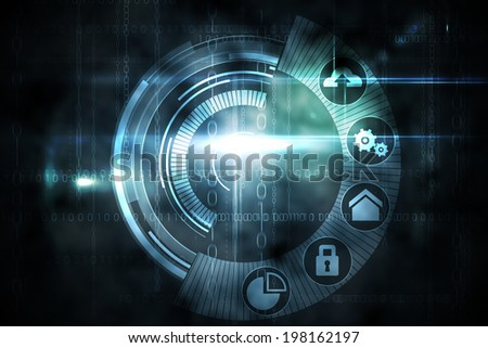 Digitally generated black technology interface with glow - stock photo