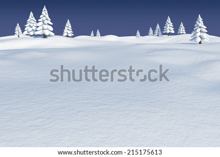 Digitally generated Snowy landscape with fir trees - stock photo