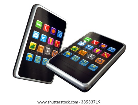 Digitally generated touch screen phones - stock photo