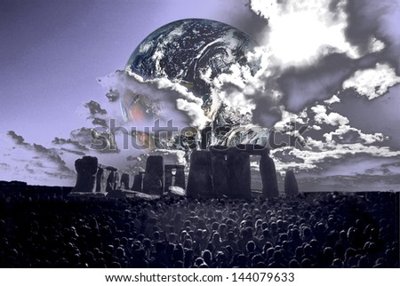 "Digitally manipulated image of the earth rising over Stonehenge with a crowd of people in the foreground. ""Earth element in this image furnished by NASA"" - stock photo"