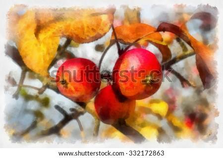 Digitally modified photo, imitation of handmade painting. - stock photo