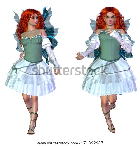 Digitally rendered illustration of a fairy girl with red hair in green dress on white background. - stock photo