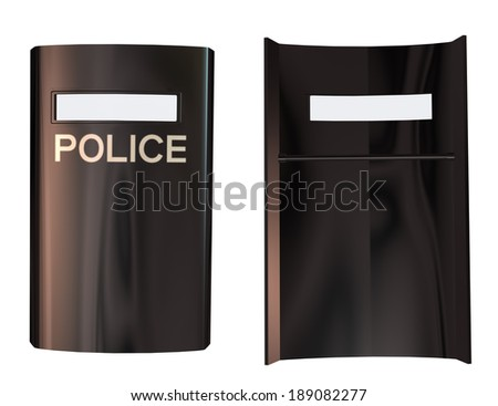 Digitally rendered image of a riot police shield on white background. - stock photo
