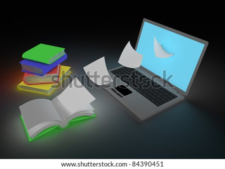 Digitizing book concept - stock photo