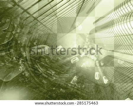 Digits and buildings - abstract computer background in sepia. - stock photo