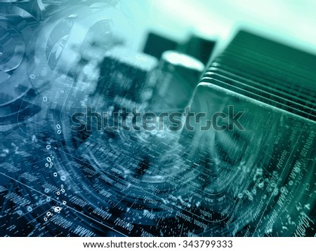 Digits and device - abstract computer background in greens and blues. - stock photo
