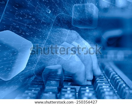 Digits and keyboard - abstract computer background in blues. - stock photo