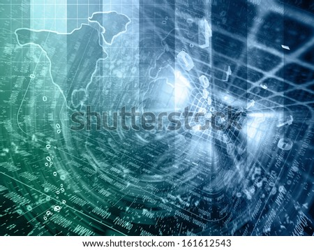 Digits and map - abstract computer background in blues and greens. - stock photo