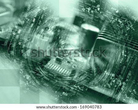 Digits and map - abstract computer background in greens. - stock photo
