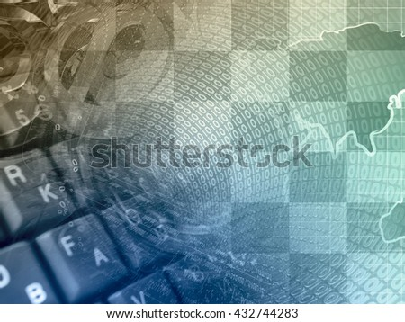 Digits and map - abstract computer background, toned. - stock photo