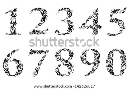 Digits and numbers with floral details in retro style. Jpeg version also available in gallery  - stock photo