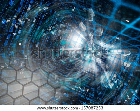 Digits and tunnel - abstract computer background. - stock photo