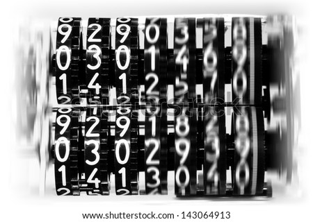 digits counter in motion - stock photo