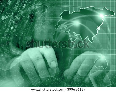 Digits, hands and map - abstract computer background in greens. - stock photo