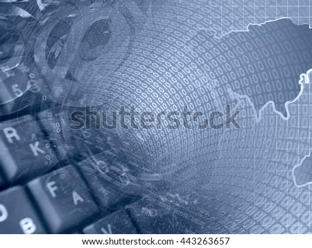Digits, keyboard and map - abstract computer background in blues. - stock photo