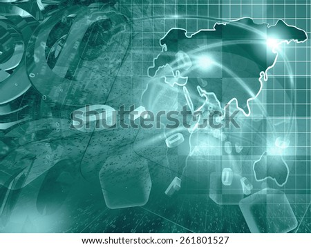 Digits, mail signs and map - abstract computer background in greens. - stock photo