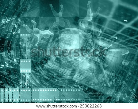 Digits, mans and globe - abstract computer background in greens. - stock photo