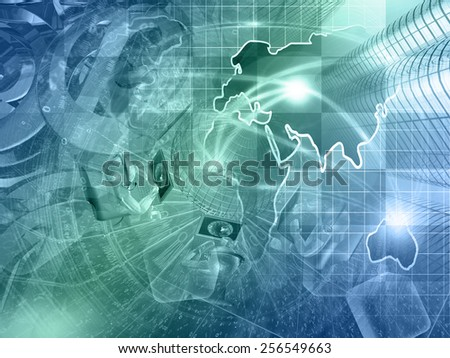 Digits, mans and map - abstract computer background, in greens and blues. - stock photo