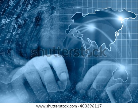 Digits, map and hands - abstract computer background in blues. - stock photo