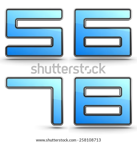 Digits 5,6,7,8 - Set of 3D Digits in Touchpad Style. - stock photo