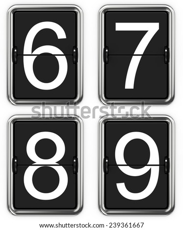 Digits 6 7 8 9. Set of Digits on Mechanical Scoreboard - Thin Font. - stock photo