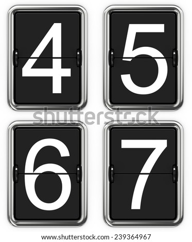 Digits 4 5 6 7. Set of Digits on Mechanical Scoreboard - Thin Font. - stock photo