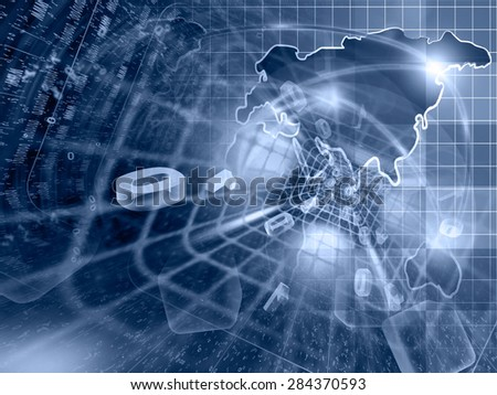 Digits, tunnel and map - abstract computer background in blues. - stock photo