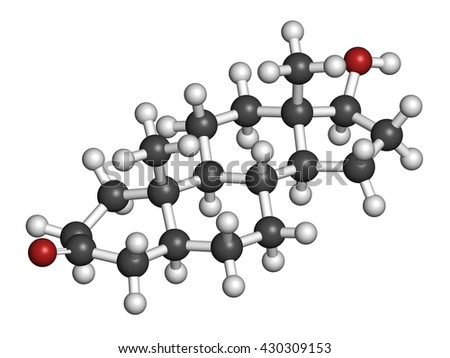 Dihydrotestosterone (DHT, androstanolone, stanolone) hormone molecule. 3D rendering. Atoms are represented as spheres with conventional color coding: hydrogen (white), carbon (grey), oxygen (red). - stock photo