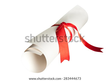 Diiploma roll isolated on a white background with clipping path - stock photo