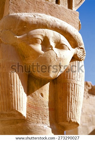 Dilapidated head of priestess, detail of facade of the temple of the Mortuary Temple of Queen Hatshepsut, Egypt. - stock photo