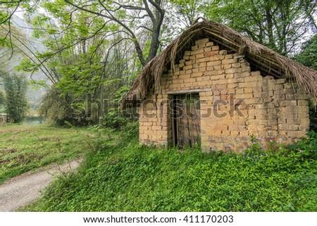 dilapidated shack - stock photo
