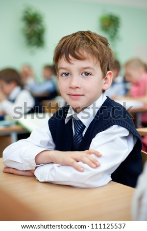Diligent student sitting at desk, classroom - stock photo