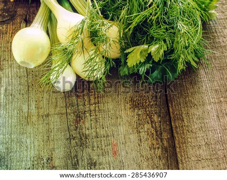 Dill, parsley and green onions on a weathering wood background. Grunge style. - stock photo